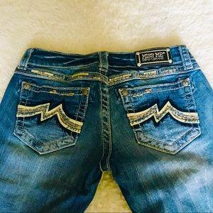 Miss Me Cropped Capri Semi distressed Jeans sz 28